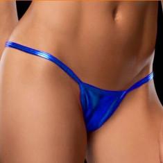 Lady Lust Bikini Tanga Mini Chilotei Sexy Piele Eco Metalic Chiloti Slim Ata - Chiloti dama, Culoare: Albastru, Auriu, Mov, Negru, Olive, Rose, Rosu, Marime: Masura unica