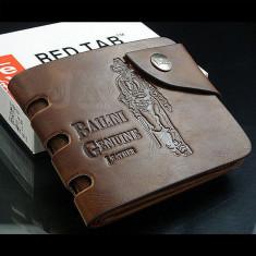 Portofel piele + textil perforatii margine Bailini prevazut cu capsa - Portofel Barbati, Coffee, Cu inchizatoare
