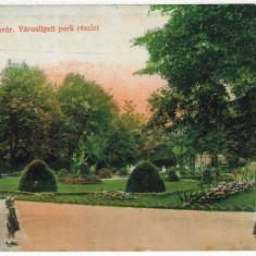 1088 - TIMISOARA, Public garden, pram with baby - old postcard - used - 1915 - Carte Postala Banat 1904-1918, Circulata, Printata