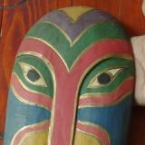 Masca deosebita din lemn pictata manual - model deosebit !!!