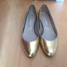 Balerini dama aurii facuti pe comanda, manual, La Marque, masura 36, Culoare: Auriu, Piele naturala