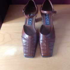 Pantofi Gucci originali, model vintage, piele, masura 36 - Pantof dama Gucci, Culoare: Coniac, Piele naturala