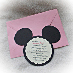 Invitatie botez Minnie/ Mickey Mouse - Invitatii botez