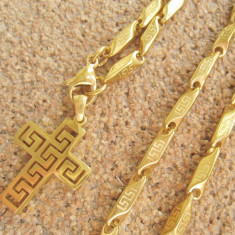 Lant medalion inox placat model Versace Meandros= 50 ron - Lantisor placate cu aur