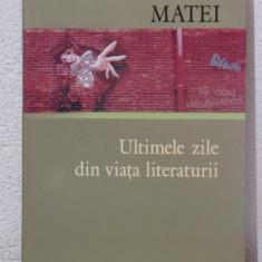 ULTIMILE ZILE DIN VIATA LITERATURII-ALEXANDRU MATEI - Eseu