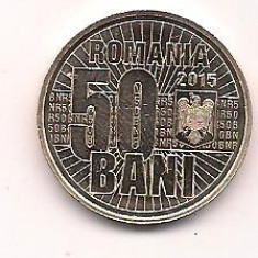 No(3) moneda-ROMANIA- 50 bani 2015- 10 ANI DE LA DENOMINAREA MONEDEI NATIONALE, Cupru (arama)