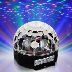 Cumpara ieftin EFECT LUMINI DISCO -MAGIC BALL -GLOB CU LEDURI SMD,MP3 PLAYER USB,TELECOMANDA.