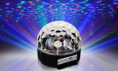 EFECT LUMINI DISCO -MAGIC BALL -GLOB CU LEDURI SMD,MP3 PLAYER USB,TELECOMANDA. foto