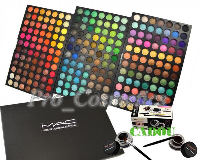 Trusa Machiaj 252 culori MAC farduri mate si sidefate + CADOU Eyeliner Gel foto mare