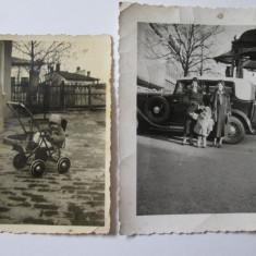 2 FOTOGRAFII COLECTIE CU AUTOTURISM SI CARUCIOR DIN ANII 30 - Fotografie, Portrete, Romania 1900 - 1950