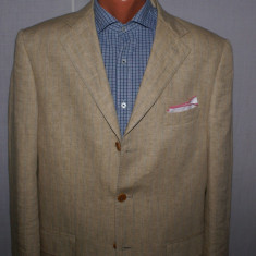 Costum barbati dinin 100% ALFIERI marimea 50 culoarea camel cu dungi albastre, 3 nasturi, Normal, Marime talie: 40, Bumbac
