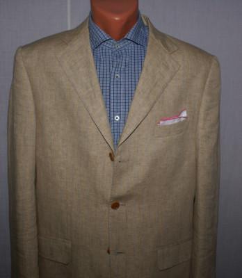 Costum barbati dinin 100% ALFIERI marimea 50 culoarea camel cu dungi albastre foto