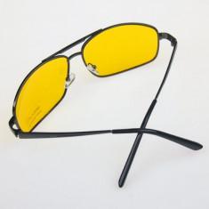 Ochelari de condus noaptea Night Vision Glasses Anti-Glare, Unisex, Galben, Pilot, Metal, Protectie UV 100%