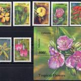 TANZANIA 1994,  Flori, serie neuzata, MNH, Nestampilat