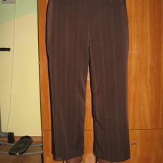 Pantaloni 7/8 Larry Levine drepti, Mar L - Pantaloni dama, Marime: L, Culoare: Coffee, Trei-sferturi