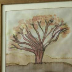 Tablou cu rama din lemn - pictura pe matase - semnat !!! - Pictor strain, Arbori, Grisaille, Altul