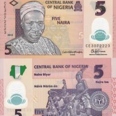 NIGERIA 5 naira 2015 polymer UNC!!! - bancnota africa