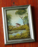 Tablou cu rama din lemn - pictura pe carton - semnat !!!, Peisaje, Ulei, Realism