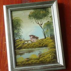Tablou cu rama din lemn - pictura pe carton - semnat !!! - Pictor strain, Peisaje, Ulei, Realism
