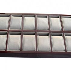 Tava depozitare ceasuri cutie cutie organizare ceasuri 12 spatii  LEMN