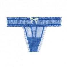 Chiloti tanga Victoria's Secret marime S - Chiloti dama Victoria's Secret, Culoare: Albastru, Marime: S