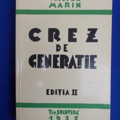 VASILE MARIN - CREZ DE GENERATIE - EDITIA 4-A - MUNCHEN - 1977 - Carte Istorie