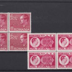 ROMANIA 1936, LP 113 SI ROMANIA 1938, LP 125, BLOC DE 4, MNH, LOT 1 RO - Timbre Romania, Nestampilat