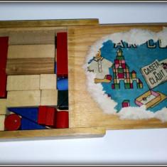 Joc vechi Ar-co, Caseta de cladit - cutie lemn -complet - Jucarie de colectie