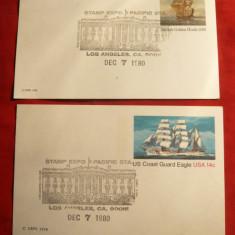 2 Carti Postale 1980 Expozitie Filatelica Pacific Sta.- Nave SUA, Necirculata, Printata