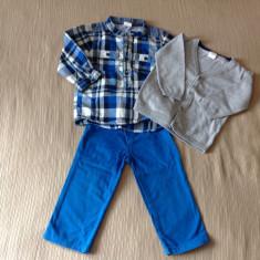 Set pantaloni, camasa, pulover copii 74-80 cm, 9-12 luni, H&M si lupilu, Culoare: Albastru, Baieti