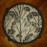 Tava alb negru (flori) diametrul 43 cm