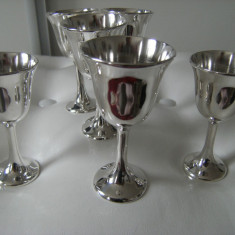 Set de sase pahare/pocale argintate,vechi marcate Italy, stare perfecta.