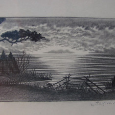 Frumoasa pictura realizata in creion pe carton, semnata si datata 1934 - Tablou autor neidentificat, Peisaje, Pastel, Realism