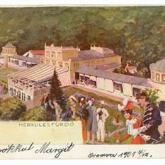 3212 - Litho, Banat, Baile HERCULANE - old postcard - used - 1901 - Carte Postala Banat pana la 1904, Circulata, Printata