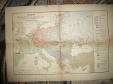 Harta Europei pe Nationalitati -Sursa germana A,Mayer 1918 , 57x39 cm