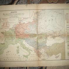 Harta Europei pe Nationalitati -Sursa germana A, Mayer 1918, 57x39 cm