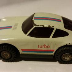 Jucarie veche colectie, masinuta Porsche turbo tabla / plastic, DDR RDG Germania