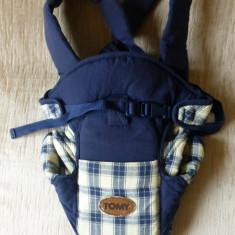 Marsupiu / port bebe Tomy Classic; 0-12 luni, maxim 9 kg; impecabil - Marsupiu bebelusi, 1-3 ani, Albastru