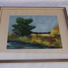 Peisaj realizat in tempera pe carton, semnat Kempe, datat 1959, Peisaje, Impresionism