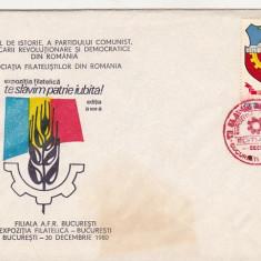 Bnk fil Plic ocazional - Expofil Bucuresti 1980 - Te slavim, patrie iubita !