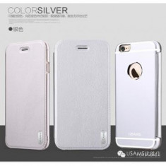Husa Usams Sailling Series Iphone 6 Argintie - Husa Telefon Oem, iPhone 6/6S, Piele Ecologica, Cu clapeta