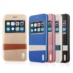 Husa flip Usams Lange Series Apple iPhone 6 Albastra - Husa Telefon Oem, iPhone 6/6S, Piele Ecologica, Cu clapeta