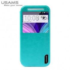 Husa Usams Merry Series HTC One (M8) Verde - Husa Telefon Oem, Piele Ecologica, Cu clapeta