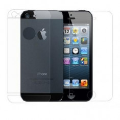 Folie protectie ecran si capac baterie cu 4 elemente Apple iPhone 5 Transparenta - Folie de protectie Oem