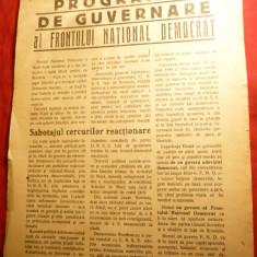 Programul de Guvernare al Frontului National Democrat 1945, 2 pag. - Hartie cu Antet