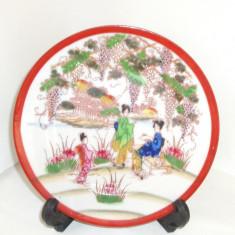 Farfurie portelan cca1950 pictura manuala - Geisha - marcaj Suzuki Kutani Japan - Arta din Asia