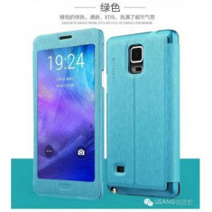 Husa Usams Touch Series Samsung Galaxy Note 4 SM-N910 Albastra - Husa Telefon Oem, Piele Ecologica, Cu clapeta