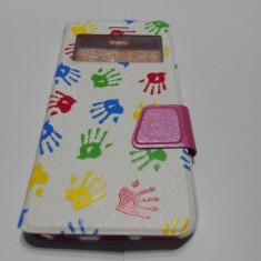 Husa iPhone 6 6S Ultra Slim cu inchidere magnetica pink &white - Husa Telefon, Roz, Piele, Cu clapeta