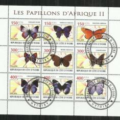 [ 31 ] FLUTURI - REPUBLIQUE DE COTE D'IVOIRE - BLOC STAMPILAT - Timbre straine