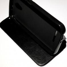 Husa tip Carte / Coperta Toc Flip Cover Vodafone Smart 4 Power + Folie CADOU!!! - Husa Telefon Vodafone, Negru, Piele Ecologica, Cu clapeta